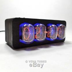 4 Digit Nixie Vacuum Tube Clock IN-12 Black Wooden Enclosure