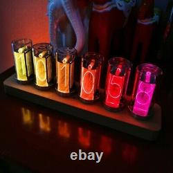 6-Digit 9 Color Nixie Glow Tube Alarm Clock Wood RGB LED Digital Christmas Gift