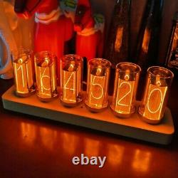 6-Digit LED Glow Tube Alarm Solid Wood Nixie Tube Alarm Clock Assembled Gift sz8