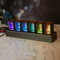 6-Digit RGB Glow Tube Clock LED Nixie Tube Clock Adjustable Colors DIY Kit tps