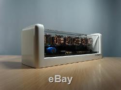 6xIN-12 NIXIE TUBES CLOCK white case & blue LED backlight & alarm vintage retro