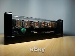 6xIN-12 Nixie Tubes Clock black mat case & pink led & alarm steampunk retro