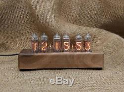 6x IN-14 Nixie Tube Clock Uhr Retro Tischuhr Glänzend Gehäuse aus Walnuss Gebaut