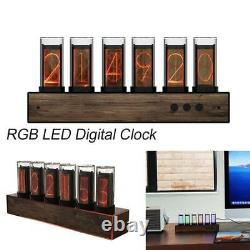 Adjustable 7 Modes LED Digital RGB Glow Tube Clock Nixie Clock Electronic Clock