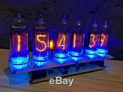Assembled Big Nixie Tubes Desk Clock and Calendar Vintage IN-14 x 6 Russian blue