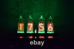 Black Line Retro Nixie Tube Clock IN-14 GREEN