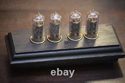 Bohemia Wood Retro Nixie Nixie Tube Clock IN-14 Bog Oak/Blue