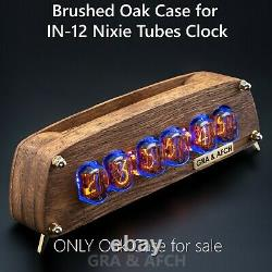 Brushed Oak Case for IN-12 Nixie Tubes Clock with Temperature F/C, Format 12/24H
