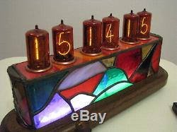 CIUCAS Nixie Clock Z566M tubes Tiffany Stained Glass Case Monjibox