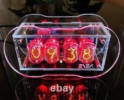 Clear Nixie Clock with IN-12 Tubes Full Color Backlight