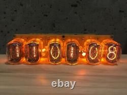Clock Nixie IN12 6Tube Amber Tubes Vintage Assembled Retro Clock No Wooden Box