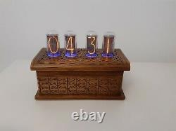 IN18 Nixie Tubes Clock in Artisan wooden case by Monjibox