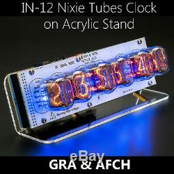 In-12 Nixie Tubes Clock On Acrylic Stand With Sockets With Options