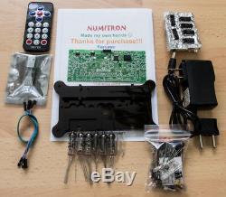 KIT DIY NUMITRON IV-9 Tubes Steampunk clock + RGB Led + Remote + Case Nixie Era