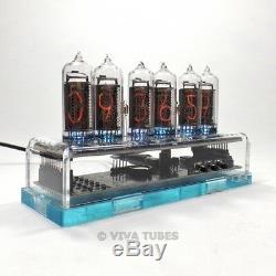NIXIE Vacuum Tube Clock 6 Digit Clear Acrylic Enclosure 99 LED Color Options