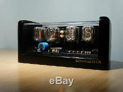 Nixie Clock 4 In-12 Tubes Black Mat Case & Alarm & Blue Led