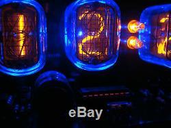 Nixie Clock 4 IN-12 tubes black mat case & alarm & blue LED steampunk retro