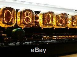 Nixie Clock 6 IN-12 tubes black glossy case & alarm & yellow LED steampunk