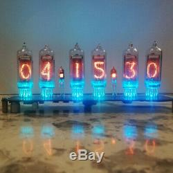 Nixie Clock 6x IN-14 + 2x IN-3 With Tube RGB Backlight Assembled plugable tubes