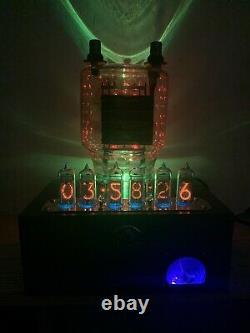 Nixie Clock IN-14 Steampunk. Copper, Brass & Glass! RGB Lit 833A Tube & Ammeter