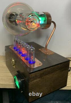 Nixie Clock IN-14 Steampunk. Early UX-852 Tube. Ring Model & Rgb Lit Ammeter