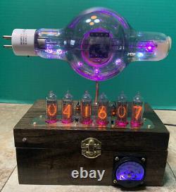 Nixie Clock IN-14 Steampunk. Economy RCA Radiotron 860 Tube. With Ezekiel Ring