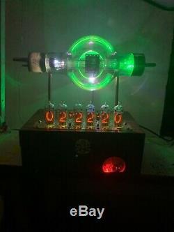 Nixie Clock IN-14 Steampunk. RGB Lit JAN- CUE-860 Tube. Ezekiel Ring Model