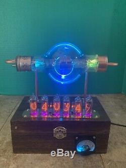 Nixie Clock IN-14 Steampunk. RGB Lit RCA 860 Tube. Ezekiel Ring Model