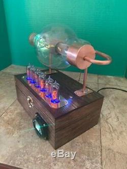 Nixie Clock IN-14 Steampunk. RGB Lit RCA JAN-CRC-860 Tube. Military Ring Model