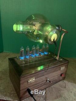 Nixie Clock IN-14 Steampunk. RGB Lit RCA Radiotron 860 Tube. Ezekiel Ring Model