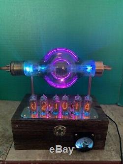 Nixie Clock IN-14 Steampunk. RGB Lit Radiotron UX-850 Tube. Ezekiel Ring Model