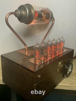 Nixie Clock IN-14 Tube. Steampunk. Eimac US Navy Vacuum Cap. Lit Uranium Glass