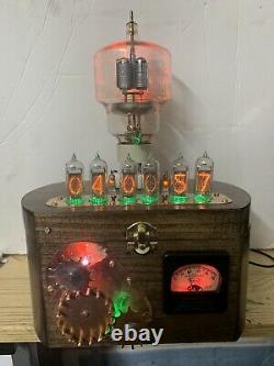 Nixie Clock IN-14 Tube. Steampunk. Eimac VT-129 Tube, Gears, Vintage Ammeter Rgb