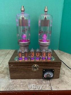 Nixie Clock IN-14 Tube. Steampunk. Lighted RGBs Towers Of Changing Color