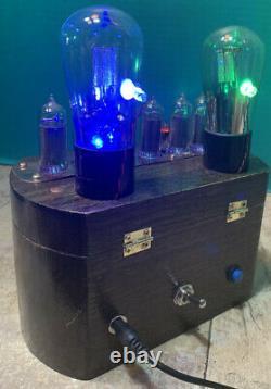 Nixie Clock IN-14 Tube. Steampunk. Lighted Vintage Tubes & Vintage Ammeter