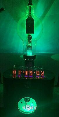 Nixie Clock IN-14 Tube. Steampunk. Military Radar Tube & Lit Vintage Navy Ammeter
