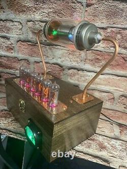 Nixie Clock IN-14 Tube. Steampunk. RGB Lit 20 KV Vacuum Cap. Lit Uranium Glass