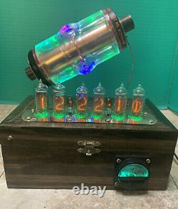 Nixie Clock IN-14 Tube. Steampunk. RGB Lit 30KV Vacuum Capacitor. Color Changing