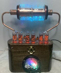 Nixie Clock IN-14 Tube. Steampunk. RGB Lit 30KV & Vintage Ammeter 10 RGB Lighted