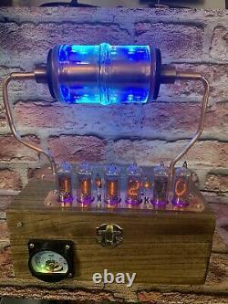 Nixie Clock IN-14 Tube. Steampunk. RGB Lit 30,0000 Volt Vacuum Capacitor