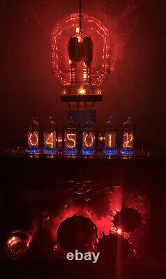 Nixie Clock IN-14 Tube. Steampunk. Vintage Sylvania VT-129 Tube, Gears, Decatron
