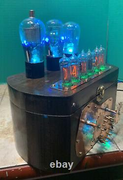 Nixie Clock IN-14 Tube. Steampunk. Working Lighted Gear Train & Vintage Tubes
