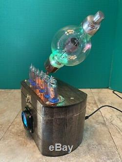 Nixie Clock IN-14 Tube. Steampunk style. Lighted 100 TH Tube. Ring Effect