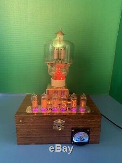 Nixie Clock IN-14 Tube. Steampunk style. Lit 300 Watt Transmitter. Uranium Glass