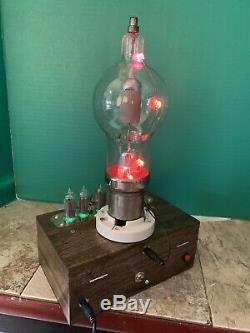 Nixie Clock IN-14 Tube. Steampunk style. Lit Eimac 250TH Tube. With Ezekiel Ring