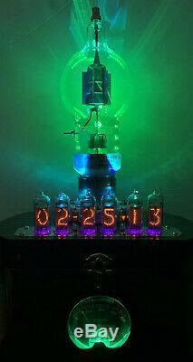 Nixie Clock IN-14 Tube. Steampunk style. Lit JAN 250-TH Tube. With Ezekiel Ring