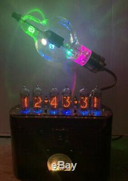 Nixie Clock IN-14 Tube. Steampunk style. Lit JAN-CIM Eimac 100 TH Tube. With Ring