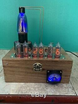 Nixie Clock IN-14 Tube. Steampunk style. Lit Kellogg 401 Tube. 4KV, 1.7K Amp Base