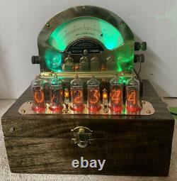 Nixie Clock IN-14 Tubes. Steampunk Copper, Brass & Glass! Very Early Weston 264