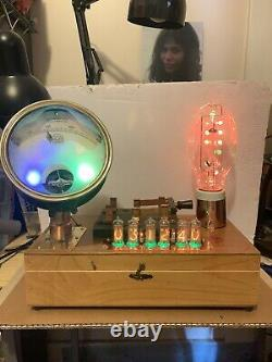 Nixie Clock IN-14 Tubes. Steampunk Copper, Brass & Glass! Vintage Fischer Ammeter
